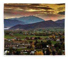 Midway City Sunset - Midway Utah Fleece Blanket