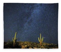 Milky Way And Cactus Fleece Blanket