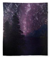 Milky Way Lake Fleece Blanket