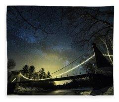 Milky Way Over The Wire Bridge Fleece Blanket