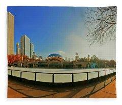 Millennium Park Mccormick Tribune Ice Rink Jele3642 Fleece Blanket
