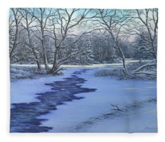 Millhaven Creek In Winter Fleece Blanket