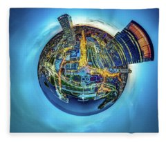 Milwaukee At Dusk Little Planet Fleece Blanket