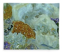 Fleece Blanket featuring the mixed media Mineral Medley 12 by Lynda Lehmann