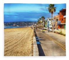 Mission Beach Boardwalk Fleece Blanket