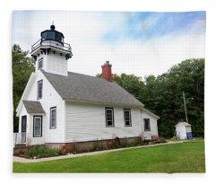 Mission Point Lighthouse Fleece Blanket