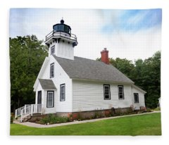 Mission Point Lighthouse Fleece Blanket
