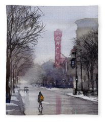 Misty Morning On Stae Street Fleece Blanket