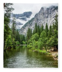 Misty Mountains, Yosemite Fleece Blanket