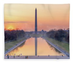 Misty Sunrise On The National Mall Fleece Blanket