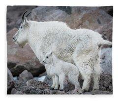 Mom And Baby Mountain Goat Fleece Blanket