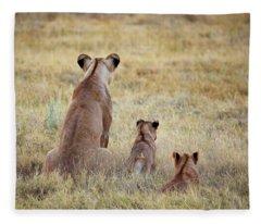 Mom And Cubs Fleece Blanket