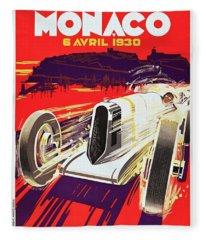 Monaco Grand Prix 1930, Vintage Racing Poster Fleece Blanket