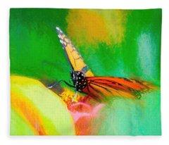 Monarch Butterfly Beautiful Smudge Fleece Blanket