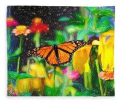 Monarch Butterfly Colored Pencil Fleece Blanket