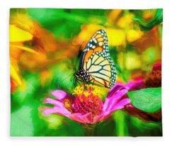 Monarch Butterfly Impasto Colorful Fleece Blanket