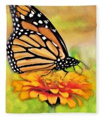 Monarch Butterfly On Flower Fleece Blanket
