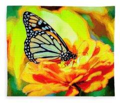 Monarch Butterfly Van Gogh Style Fleece Blanket