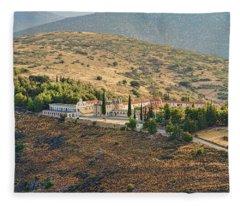 Monastery Agion Anargiron Above Argos Fleece Blanket