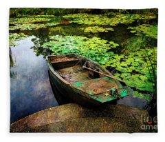 Monet's Gardeners Boat Fleece Blanket