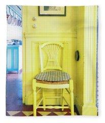 Monet's Kitchen Yellow Chair Fleece Blanket
