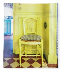 Monet's Kitchen Yellow Chair Fleece Blanket