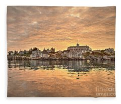 Monhegan Sunrise - Harbor View Fleece Blanket