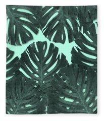 Monstera Leaf Pattern - Tropical Leaf - Teal - Tropical, Botanical - Modern, Minimal Decor Fleece Blanket