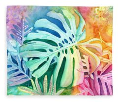 Monstera Fleece Blanket