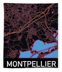 Montpellier City Map Fleece Blanket