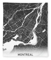 Montreal Map Black And White Fleece Blanket