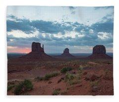 Monument Valley Before Sunrise Fleece Blanket