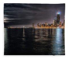 Moon Over Lake Michigan Fleece Blanket