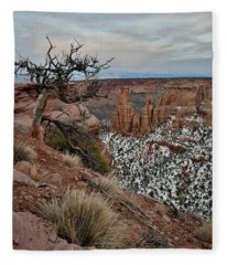 Moon Rising Over Grand View Point In Colorado National Monument Fleece Blanket