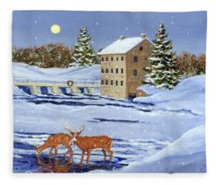 Moonlight Millpond Whitetails Fleece Blanket