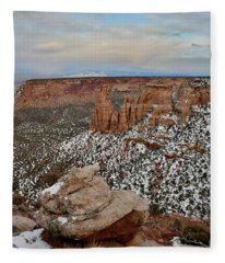 Moonrise Over Colorado National Monument Fleece Blanket