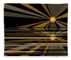 Moonshine In Black And Gold Fleece Blanket