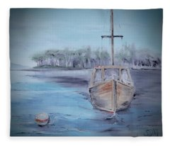 Moored Sailboat Fleece Blanket