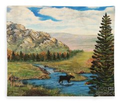 Moose In The Rut Fleece Blanket