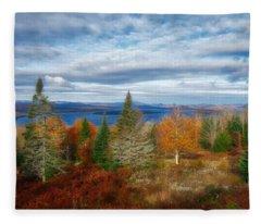 Mooselookmeguntic Lake Fall Colors Fleece Blanket