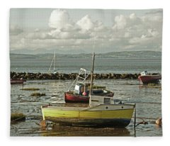 Morecambe. Boats On The Shore. Fleece Blanket