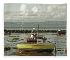 Morecambe. Boats On The Shore. Fleece Blanket