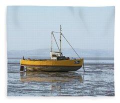Morecambe. Yellow Fishing Boat. Fleece Blanket