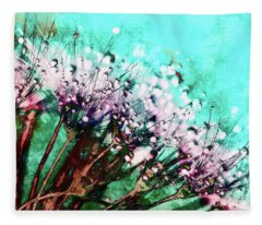 Morning Dew On Dandelions Fleece Blanket