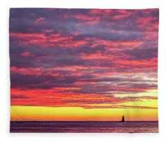 Morning Fire Over Whaleback Light Fleece Blanket