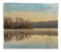 Fleece Blanket featuring the photograph Morning Flight by Allin Sorenson