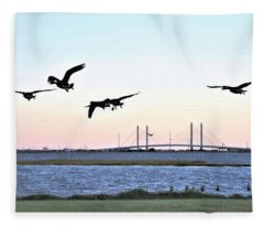 Morning Geese Flight - Indian River Inlet Bridge Fleece Blanket