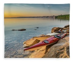 Morning Kayaks Fleece Blanket