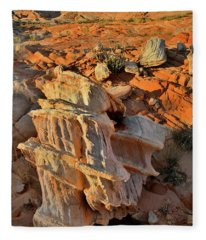 Morning Light On Beautiful Sandstone Form In Valley Of Fire Fleece Blanket
