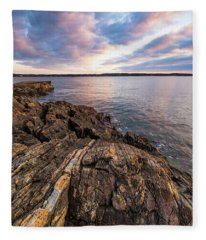 Morning Light Over The Piscataqua River. Fleece Blanket